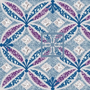 Boho Art Deco violet teal