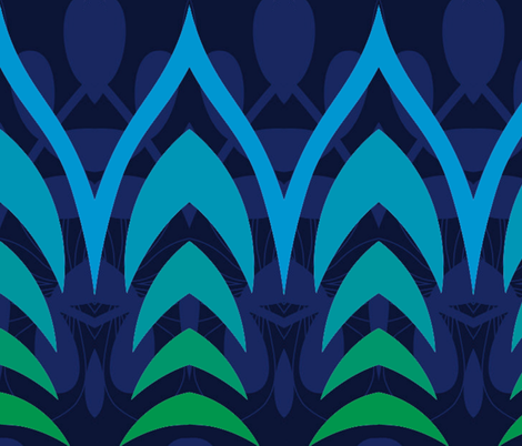 Art Deco Blue & Green fabric by fanciful_whimsy on Spoonflower - custom fabric