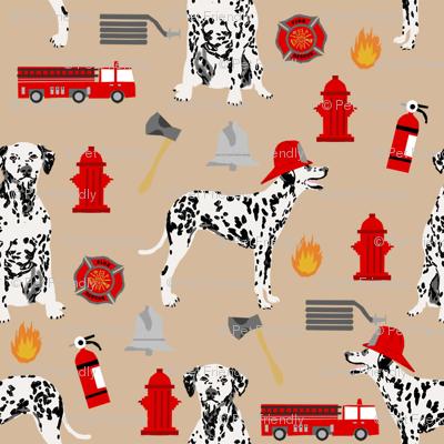 dalmatian fireman fabric - fire, fireman, fire truck, dalmatian dog design - tan