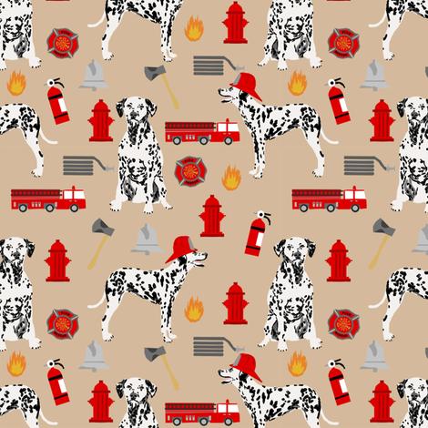 dalmatian fireman fabric - fire, fireman, fire truck, dalmatian dog design - tan fabric by petfriendly on Spoonflower - custom fabric