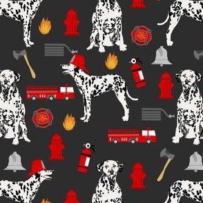 dalmatian fireman fabric - fire, fireman, fire truck, dalmatian dog design - charcoal