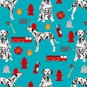 dalmatian fireman fabric - fire, fireman, fire truck, dalmatian dog design - turquoise