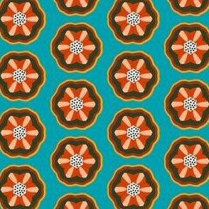 retro flower aqua