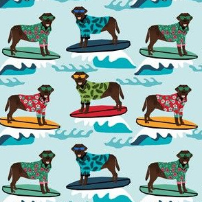 chocolate lab dog surfing fabric - cute labrador retriever dog surfing design