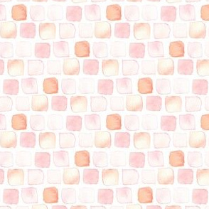 Watercolor Blush Pink Peach Coral White Orange Dots Spots Geometric Squares Baby Girl _ Miss Chiff Designs
