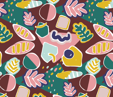 Troppo Shapes - Maroon fabric by elliewhittaker on Spoonflower - custom fabric