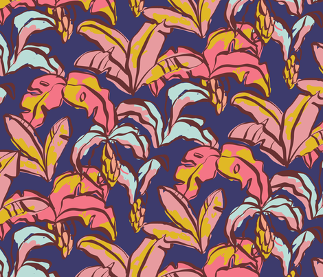 Banana Palms - Blue fabric by elliewhittaker on Spoonflower - custom fabric