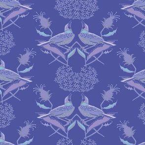 Twin Sparrows, in Purple/Blue