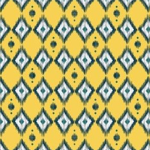 Blue Ikat with Banana Yellow