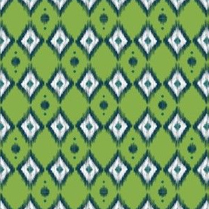 Blue Ikat with Pea Green
