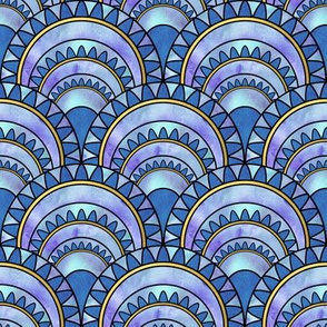 Modern Art Deco Inspired Fan with Blue Watercolour Abstracts