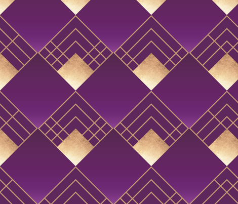Art Deco Violet & Gold - large pattern fabric by lindsay_holman on Spoonflower - custom fabric