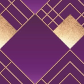 Art Deco Violet & Gold - large pattern