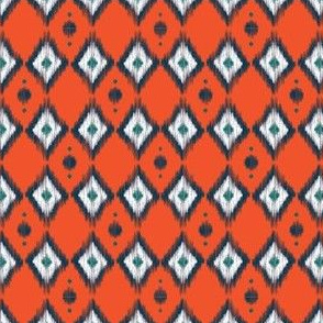 Blue Ikat with Tangerine