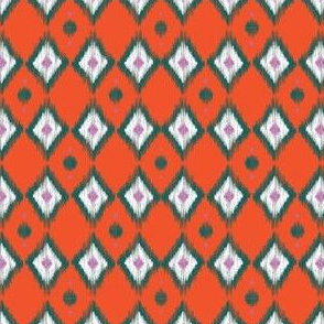 Emerald Ikat  with Tangerine