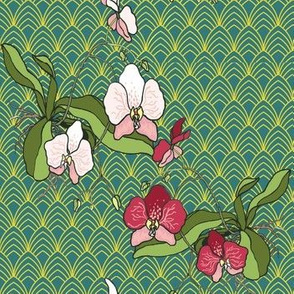 Art Deco Orchids Gold and Teal