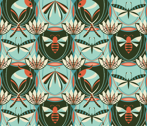 Deco creatures of flight fabric by cjldesigns on Spoonflower - custom fabric