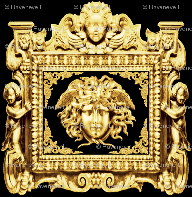 1 cherubs angels Versace inspired medusa baroque rococo black gold flowers floral old bearded man men  filigree swirls scrolls wings victorian gorgons Greek Greece mythology