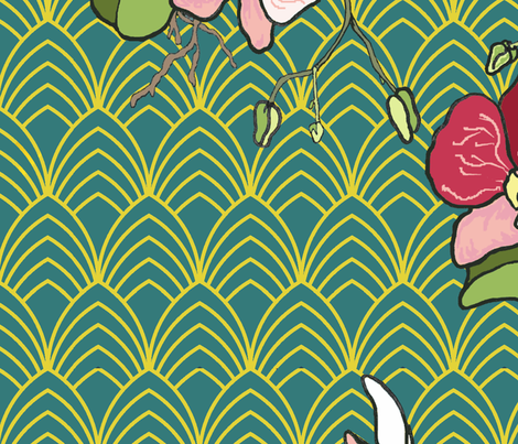 Art Deco Orchids Gold and Teal fabric by aspenartsstudio on Spoonflower - custom fabric
