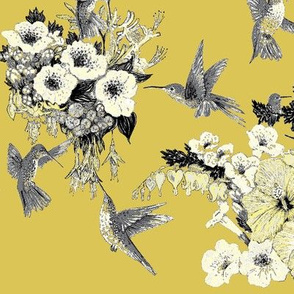 Mustard Yellow, Cream & Gray Humming Bird