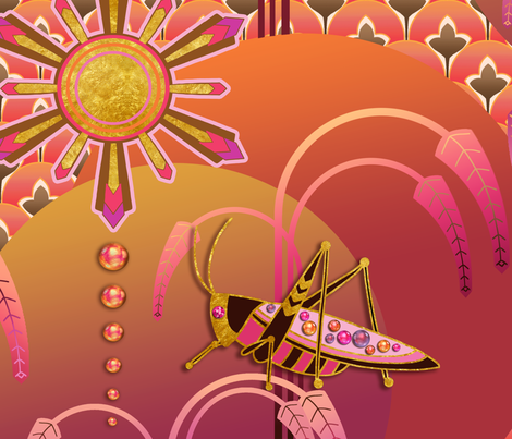 art deco grasshopper being dazzling fabric by designed_by_debby on Spoonflower - custom fabric