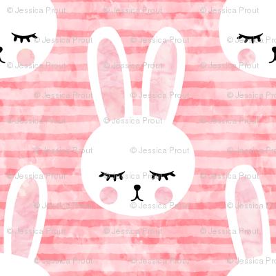 """1.5"""" bunnies on pink (sleepy bunny)"""