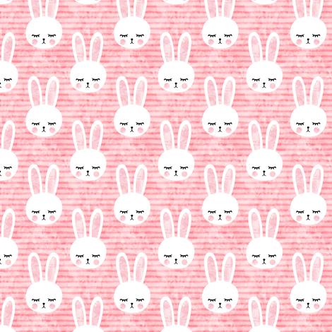 "1.5"" bunnies on pink (sleepy bunny) fabric by littlearrowdesign on Spoonflower - custom fabric"