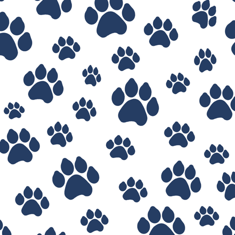 Navy Doggy Paws // Large fabric by thinlinetextiles on Spoonflower - custom fabric