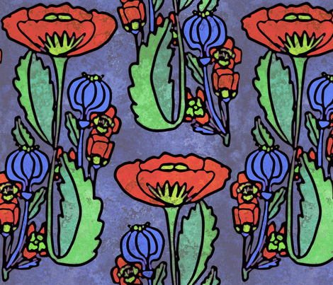 Poppy, Art Deco, Large fabric by palifino on Spoonflower - custom fabric