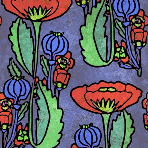 Poppy, Art Deco, Large