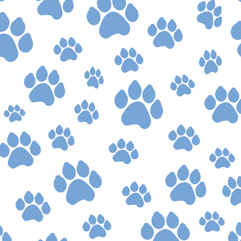Blue Doggy Paws // Large fabric by thinlinetextiles on Spoonflower - custom fabric