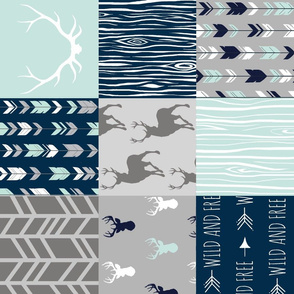 Adult version (no text) Patchwork Deer - Mint, Navy and grey