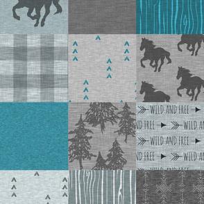 Wild Horses Patchwork - Aqua/Teal/Grey