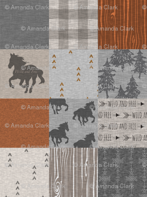 Wild Horses Patchwork - Rust and Grey