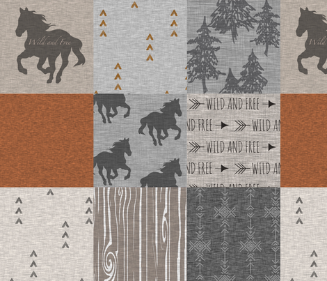 Wild Horses Patchwork - Rust and Grey fabric by sugarpinedesign on Spoonflower - custom fabric