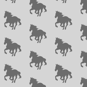 "4"" Running Horses - Dark grey on light grey"