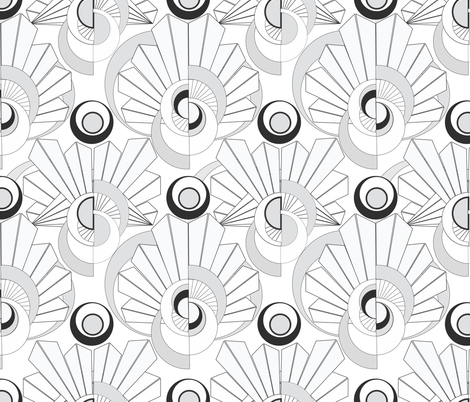 Black and white art deco inspiration fabric by trevordog on Spoonflower - custom fabric