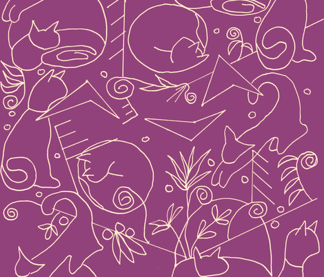 Art Deco Cats fabric by kimruss@thatcatart on Spoonflower - custom fabric