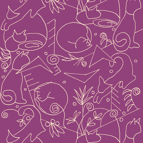 Art Deco Cats fabric by kimruss@thatcatart on Spoonflower - custom fabric