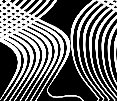 Art Deco Swirl White and Silver On Black fabric by house_of_heasman on Spoonflower - custom fabric