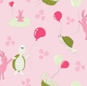 turtle and bunny balloon race-pink_green