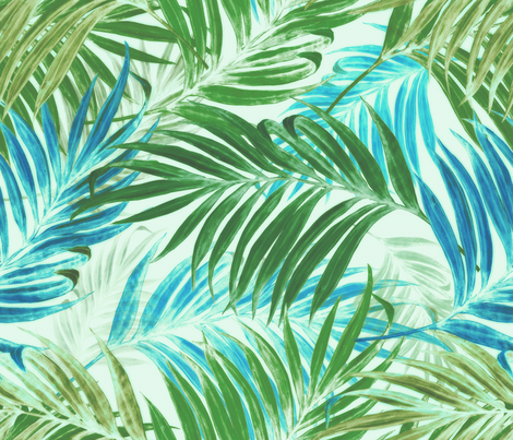 Palm Leaves in sky- blue fabric by chicca_besso on Spoonflower - custom fabric