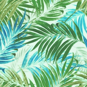 Palm Leaves in sky- blue