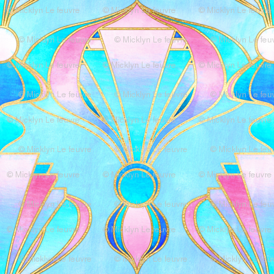 Textured Art Deco in Pink, Blue and Gold
