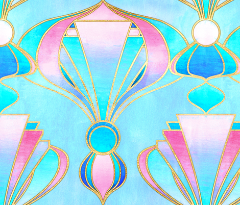 Textured Art Deco in Pink, Blue and Gold fabric by micklyn on Spoonflower - custom fabric