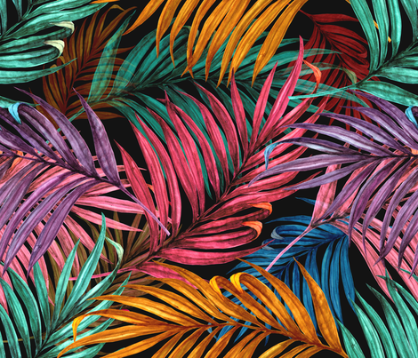 Palm Leaves in color fabric by chicca_besso on Spoonflower - custom fabric