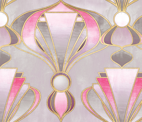 Textured Art Deco in Rose Pink, Grey and Gold fabric by micklyn on Spoonflower - custom fabric
