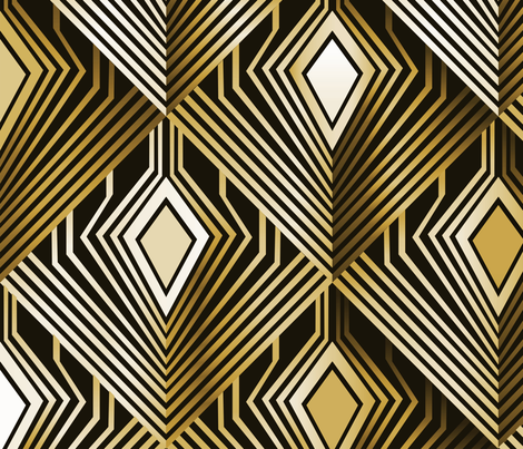 Art deco golden peacock feathers fabric by camcreative on Spoonflower - custom fabric