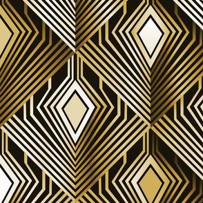 Art deco golden peacock feathers