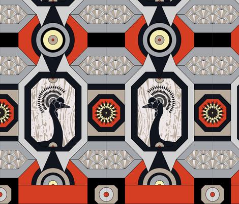Crane Deco fabric by wyndbrook_design on Spoonflower - custom fabric
